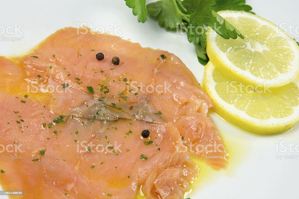 marinated salmon stock photo