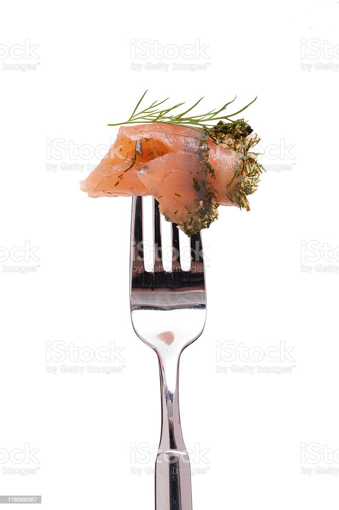 Marinated salmon with dill stock photo