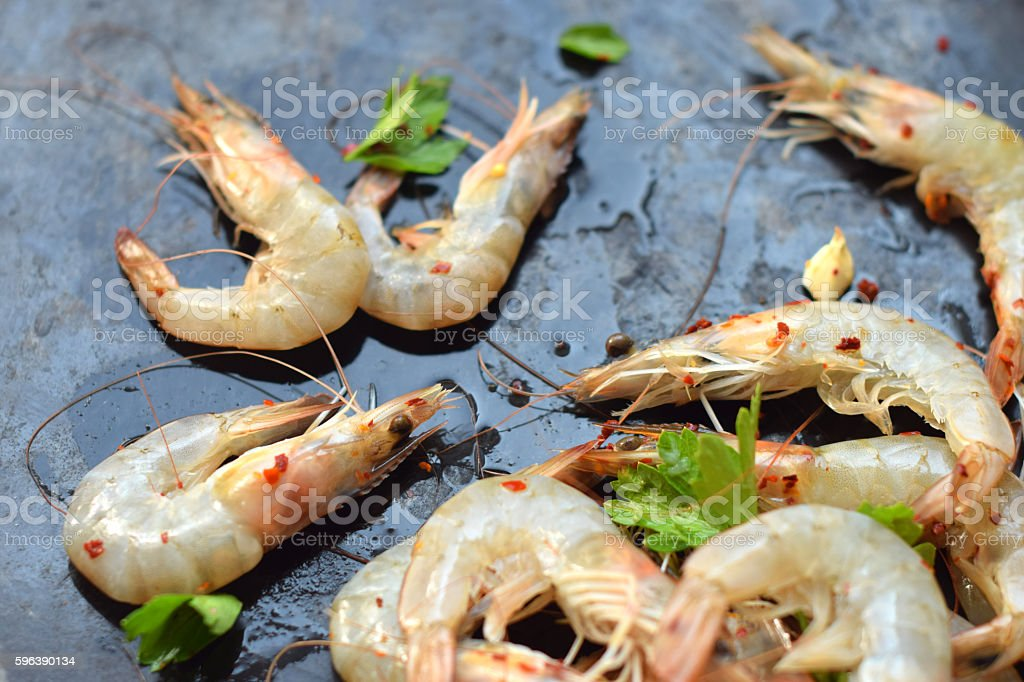marinated shrimps  in lemon juice stock photo