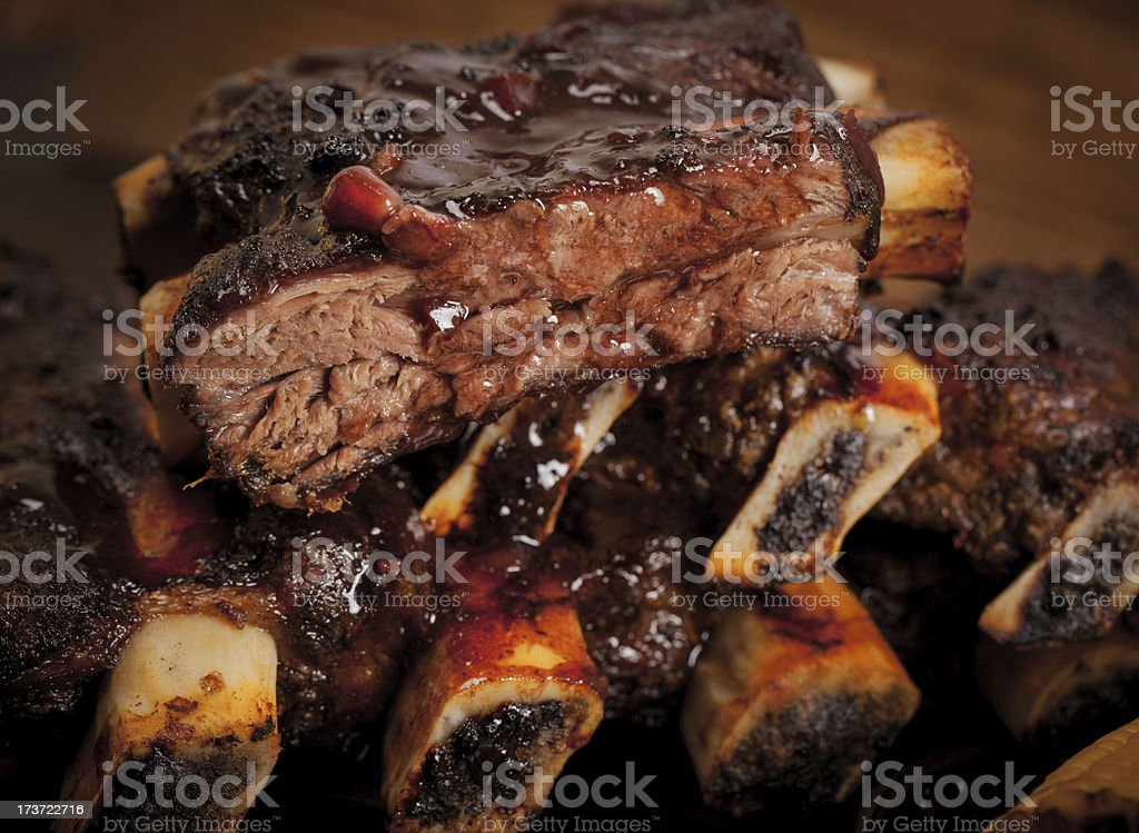 Marinated stack of beef short ribs stock photo