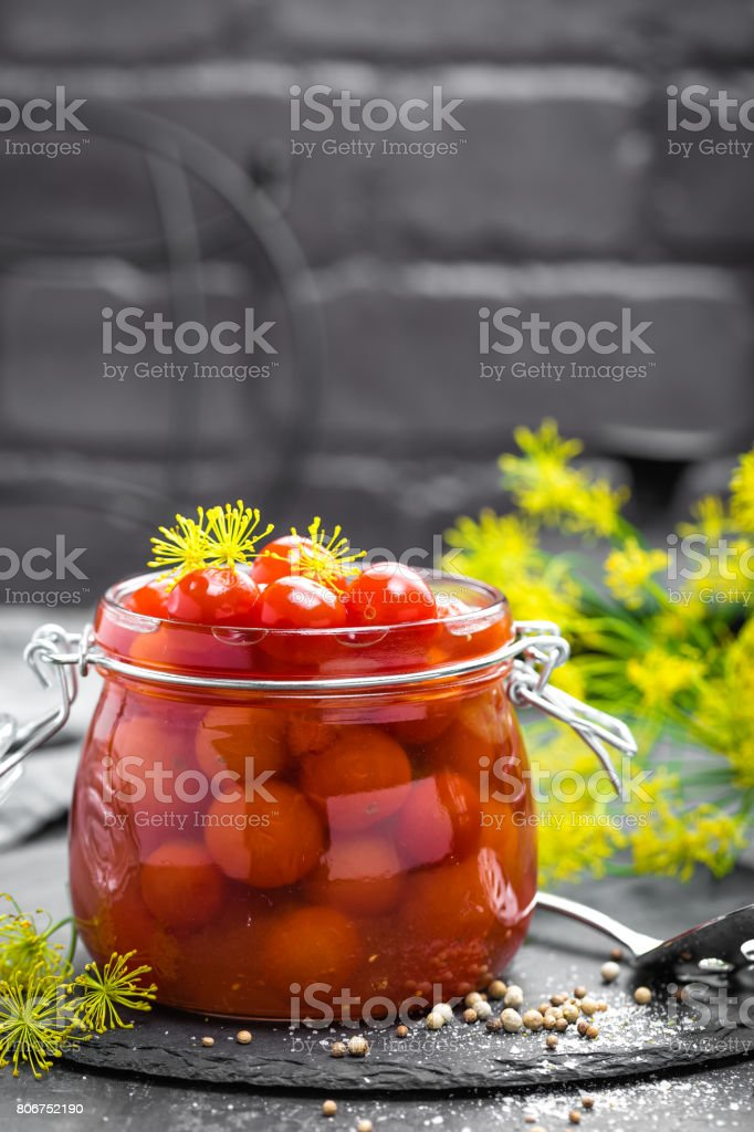 Marinated tomatoes stock photo