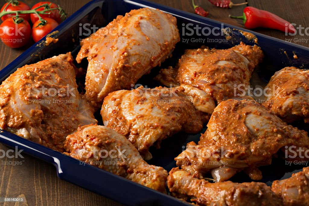 Marinating Chicken stock photo
