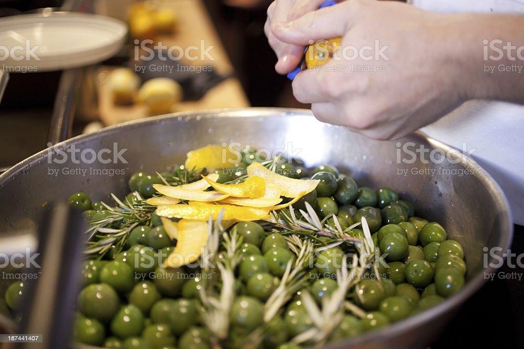 Marinating olives stock photo