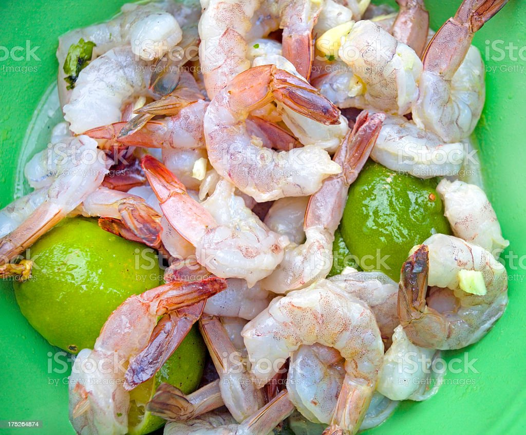 Marinating Shrimp royalty-free stock photo