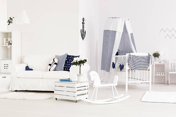 marine baby room - marineblau schlafzimmer stock-fotos und bilder