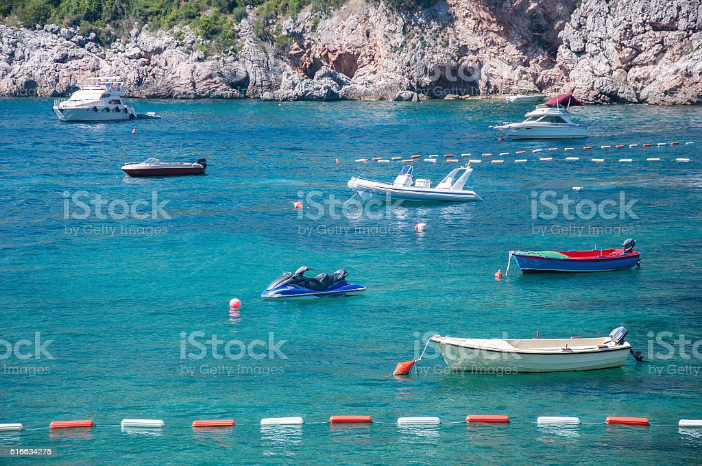 Marine bay surrounded by hills stock photo