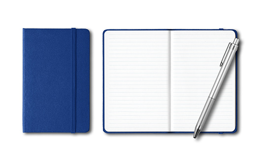 Marine blue closed and open notebooks with a pen isolated on white