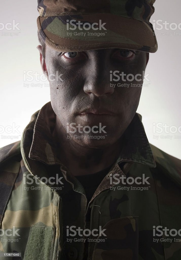 marine camouflaged fierced face royalty-free stock photo