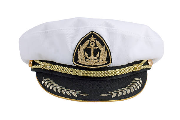 Marine cap Marine cap with embroidered anchor and star uniform cap stock pictures, royalty-free photos & images