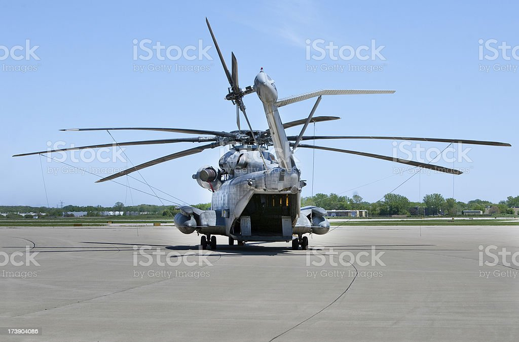US Marine CH53 from rear royalty-free stock photo