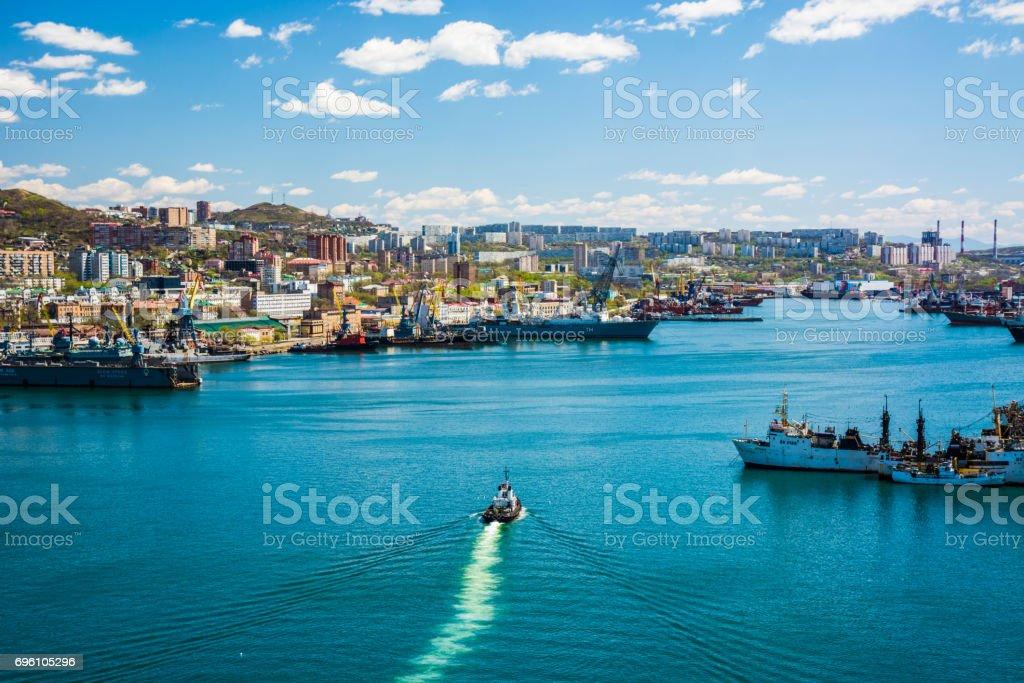 Marine City. Bay with ships. the ship floats stock photo