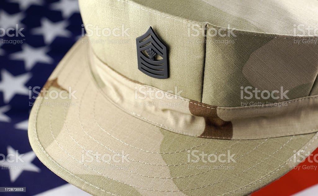 Marine Corp Desert Camouflage Cap with Rank royalty-free stock photo