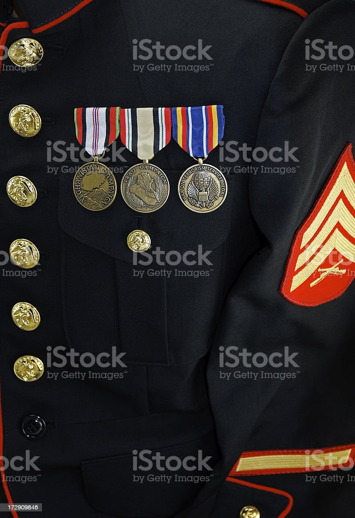 Marine Corp Uniform Blouse with Medals royalty-free stock photo