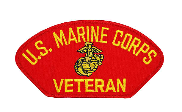 us marine corp veteran patch - badge logo stock pictures, royalty-free photos & images
