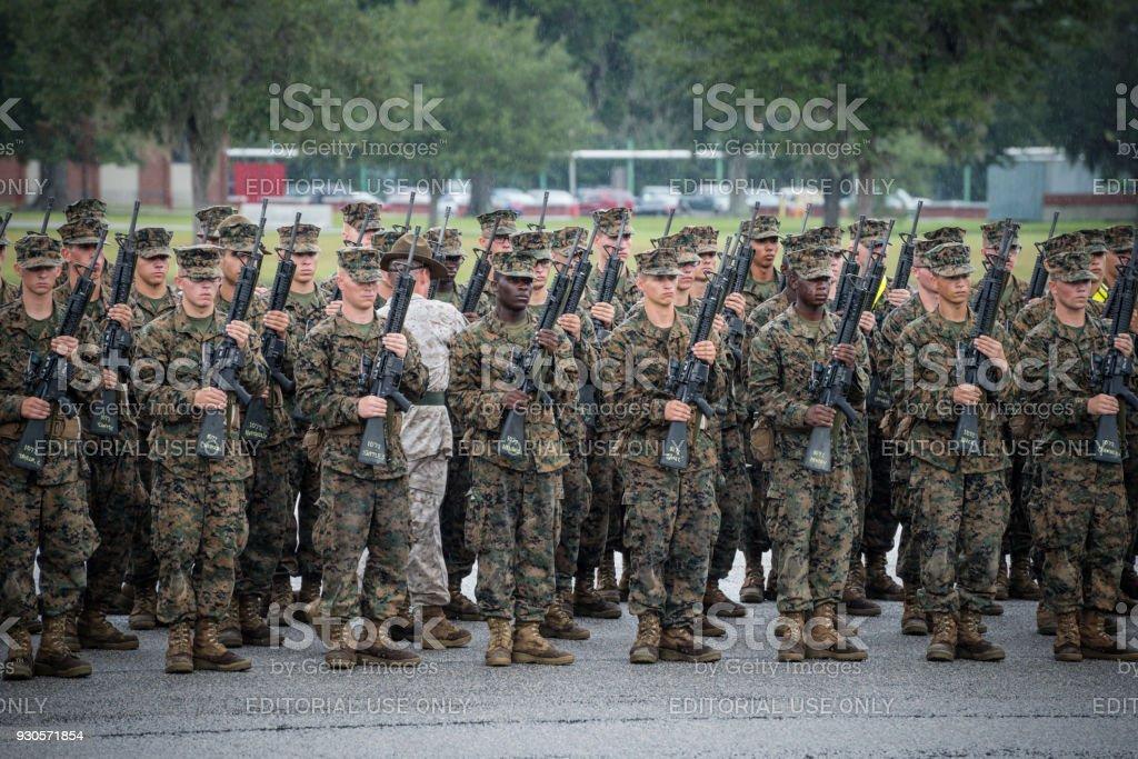 Marine Corps basic training at Parris Island, South Carolina stock photo
