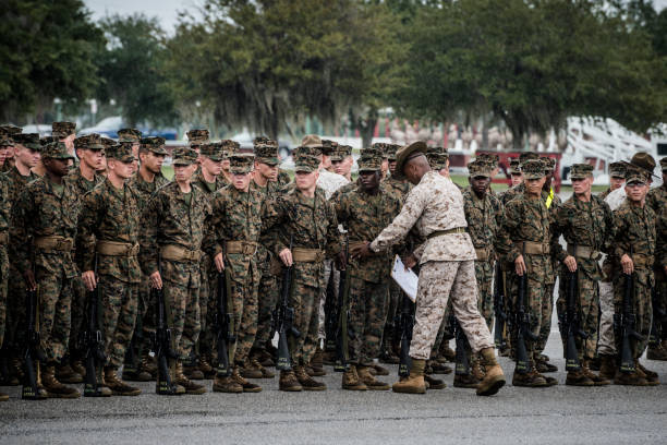 marine corps basic training at parris island, south carolina - marines stock photos and pictures