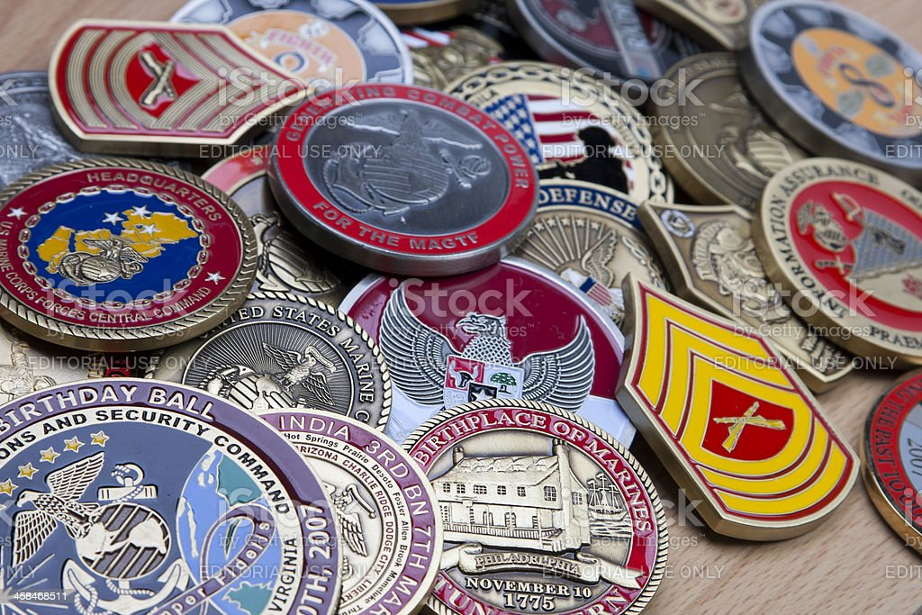Marine Corps Challenge Coins Stock Photo & More Pictures of Armed