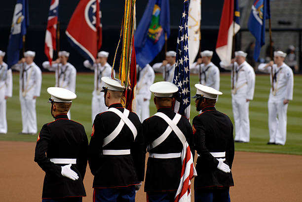 u.s. marine corps color guard - national anthem stock photos and pictures