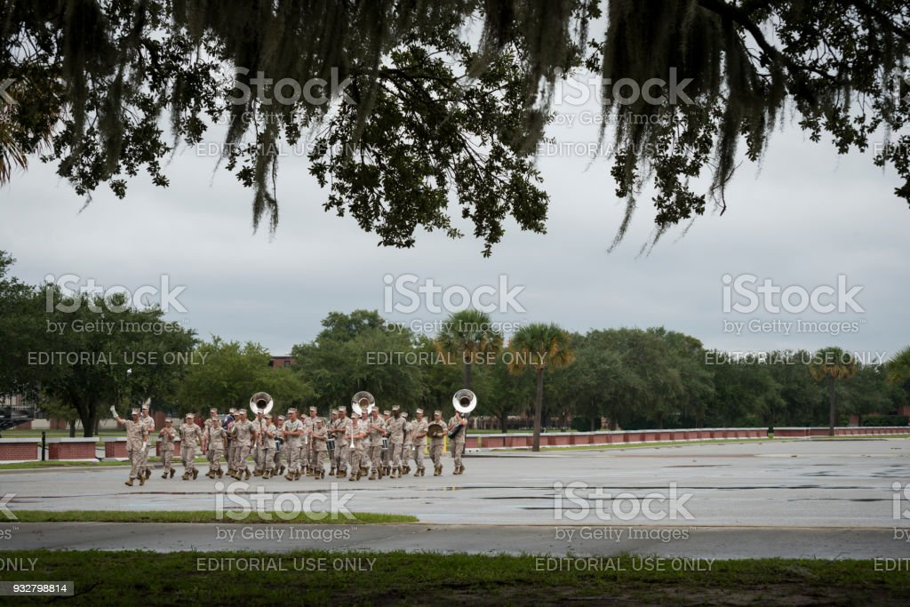 U.S. Marine Corps marching band practice at Parris Island stock photo