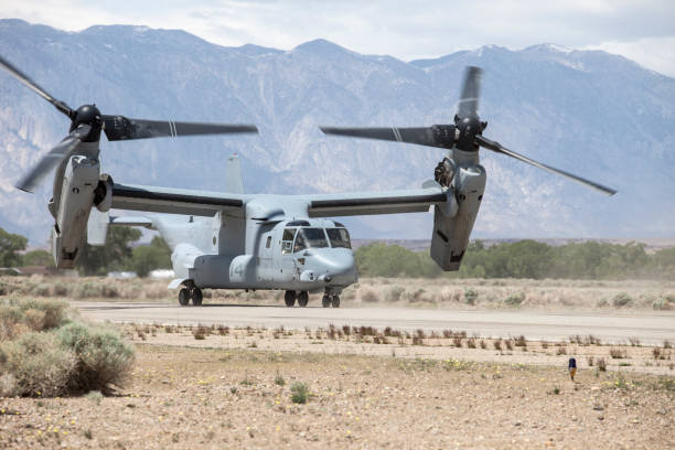 US Marine Corps Osprey MV-22 at Bishop Airport (KBIH) stock photo