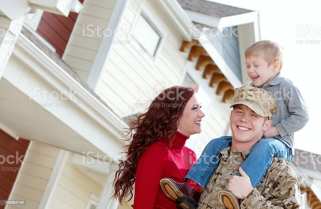 U S Marine Corps soldier & Family outdoor stock photo