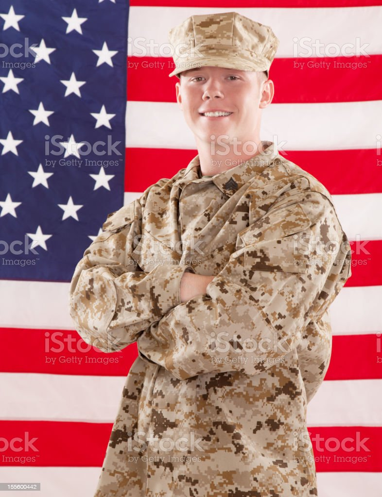 U S Marine Corps Soldier Smiling royalty-free stock photo