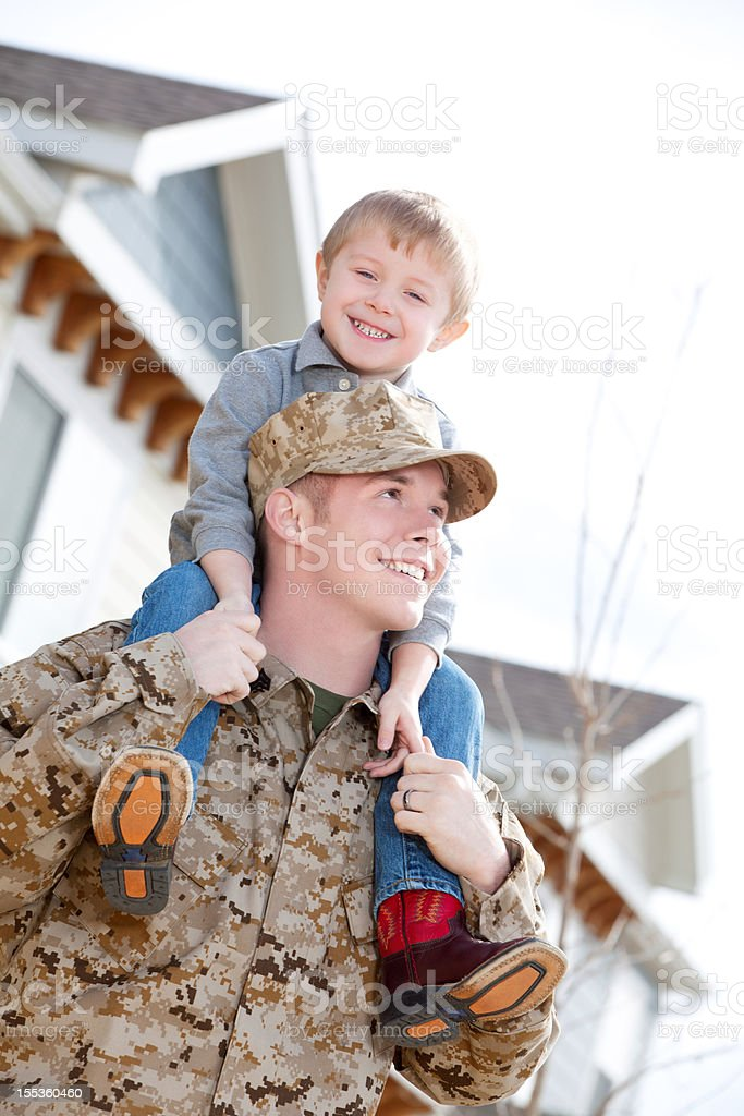 U S Marine Corps Soldier & Son Outdoor royalty-free stock photo