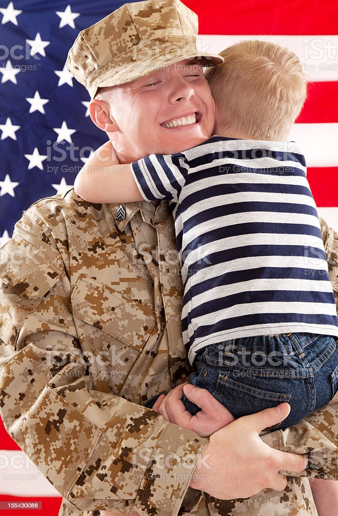 U S Marine Corps Soldier & Son royalty-free stock photo