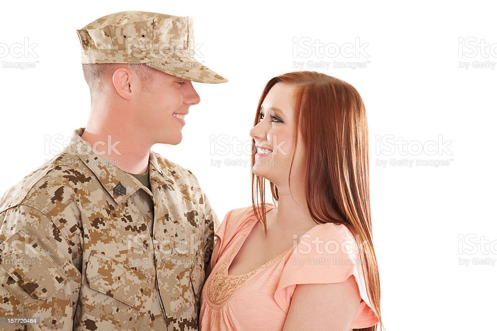 U S Marine Corps Soldier & Wife royalty-free stock photo