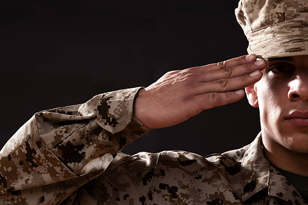 us marine corps solider portrait - marines stock photos and pictures