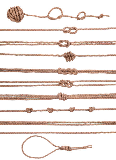 marine decorative elements collection set of rope with knot stock photo