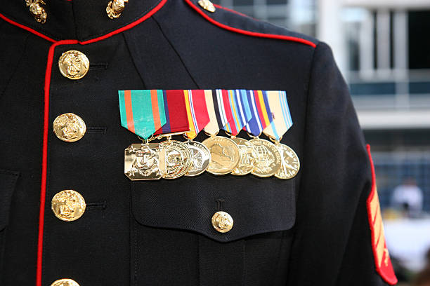us marine displaying his medals - marines stock photos and pictures