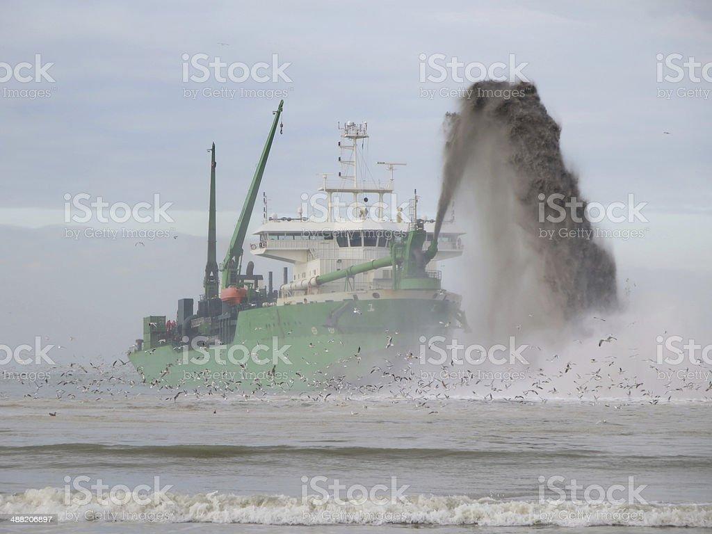 Marine Dredger Barge stock photo