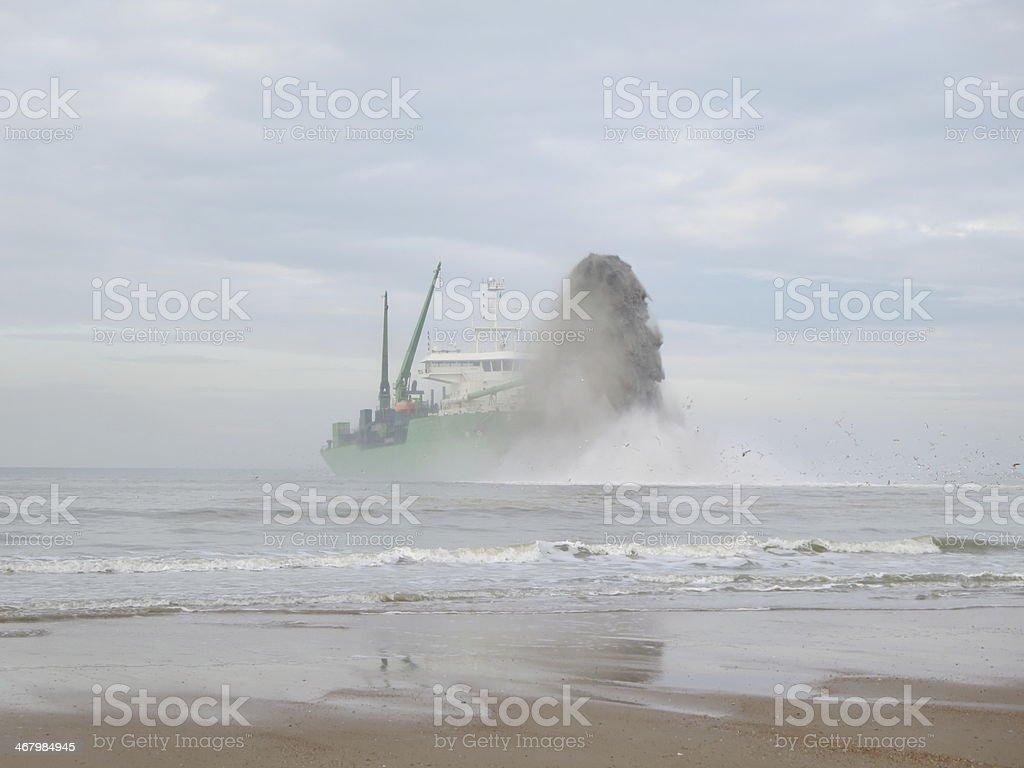Marine Dredging Ship Creating Port stock photo