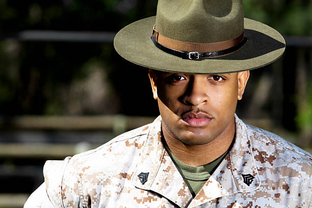 Marine Drill Instructor African American Marine Drill Instructor sergeant stock pictures, royalty-free photos & images