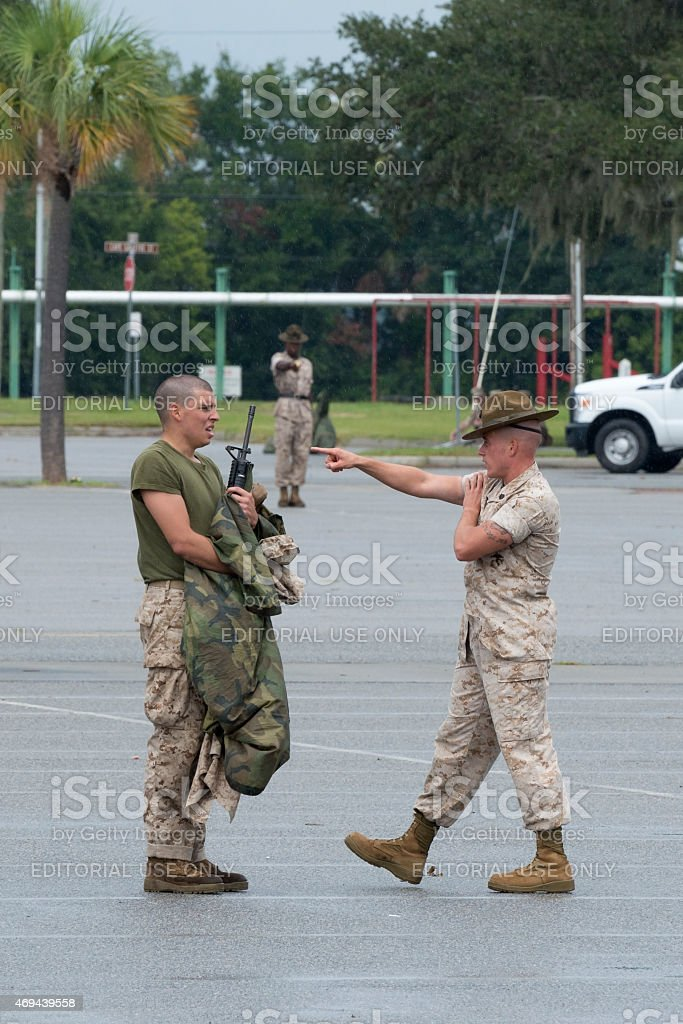 U.S. Marine drill sergeant and recruit interaction at Parris Island stock photo