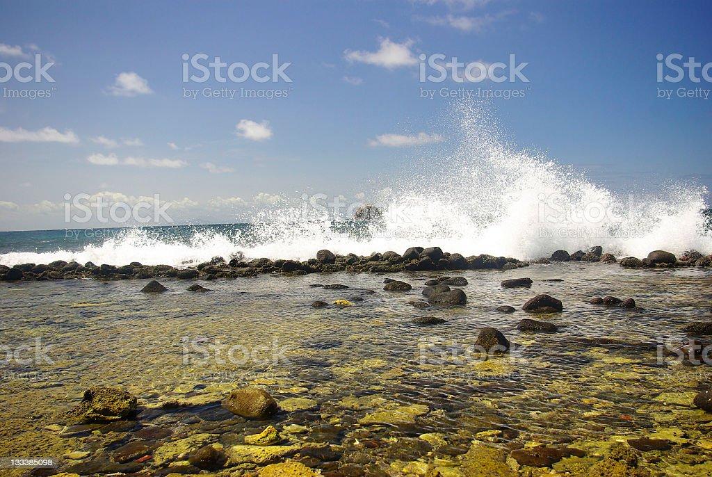 marine environment - beautiful beach with splashing waves royalty-free stock photo