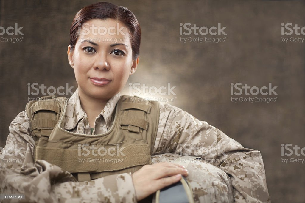 US Marine Female Soldier in Combat Gear royalty-free stock photo