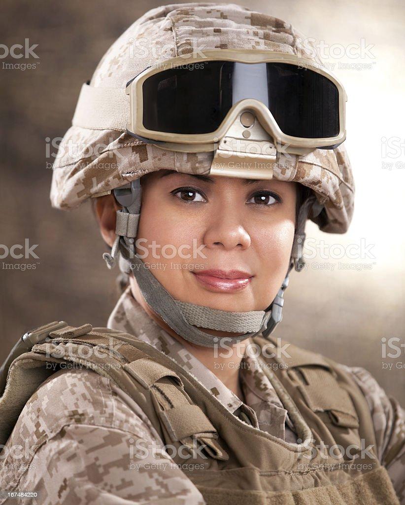 US Marine Female Soldier in Combat Gear stock photo