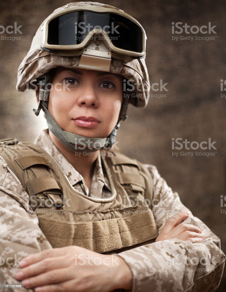 US Marine Female Soldier in Combat Gear stock photo
