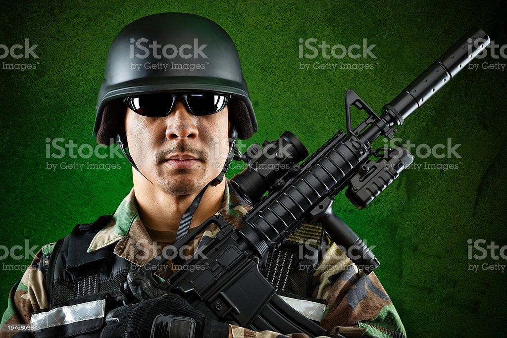 marine guard looking at camera royalty-free stock photo