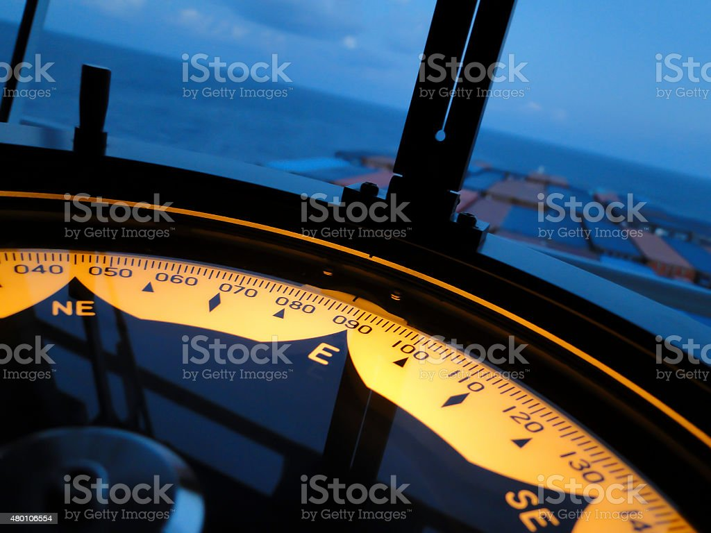 Marine gyro compass aboard ship. stock photo