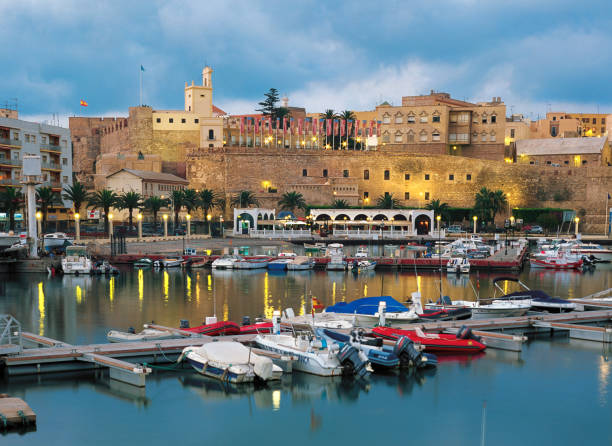 Marine Harbor of Melilla with view of the Old city Fortress. stock photo