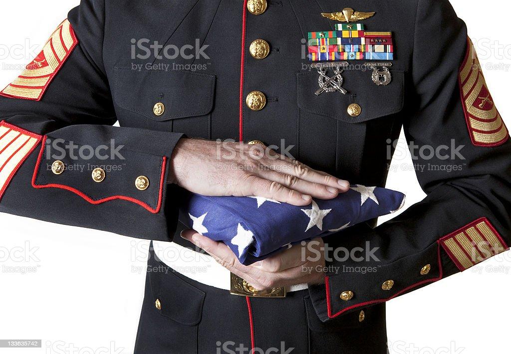Marine Holding Flag stock photo