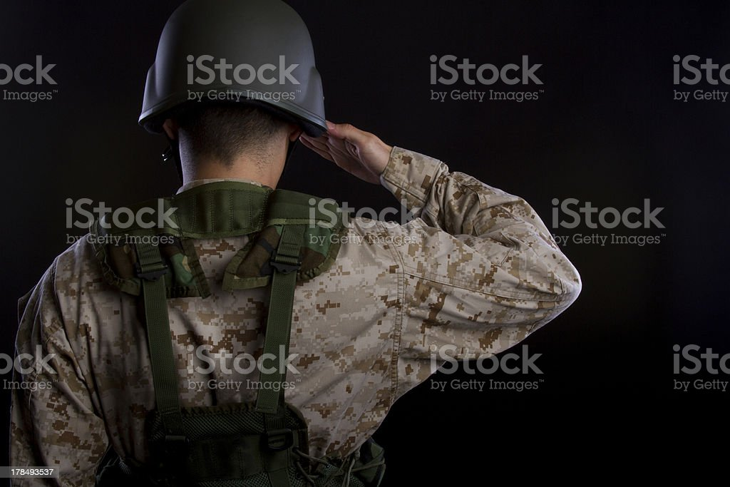 Marine in gear saluting royalty-free stock photo