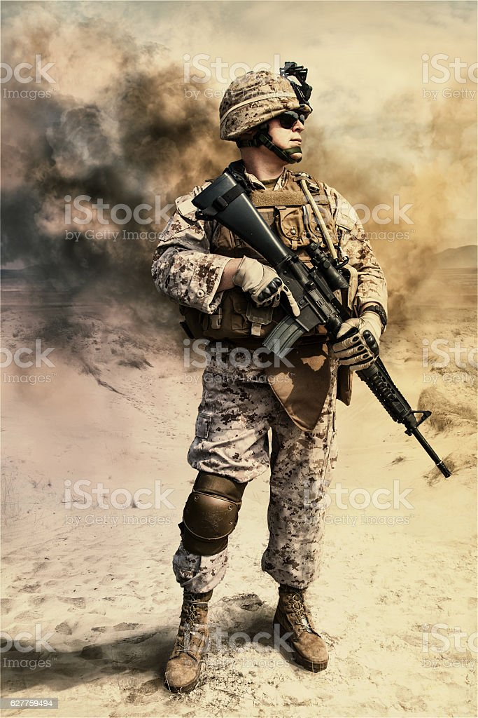 US marine in the desert stock photo