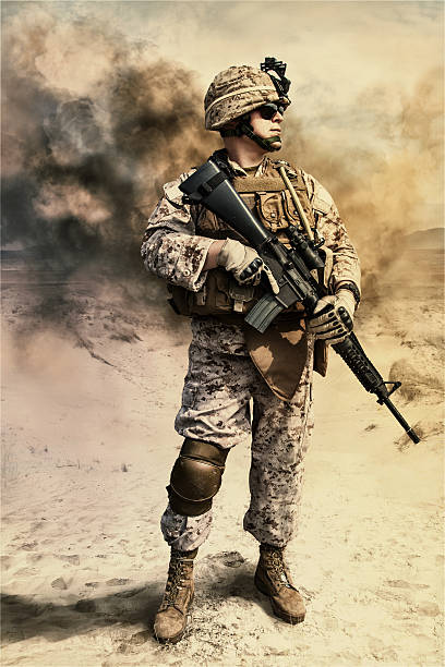 us marine in the desert - marines stock photos and pictures