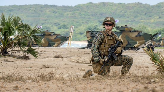 istock US Marine infantrymen land on target's sea shore during Cobra Gold 2018 Multinational Military Exercise 946729426
