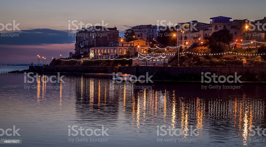 marine lake, weston super mare, night shot, just after sunset
