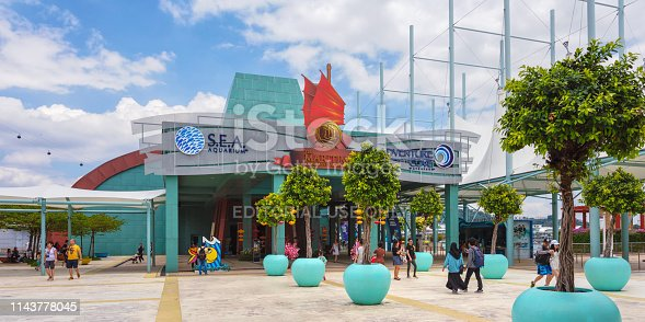 Entrance to the Marine Life Park at Sentosa island. The park consists of the S.E.A. Aquarium, Adventure Cove Waterpark and the Maritime Experiential Museum.